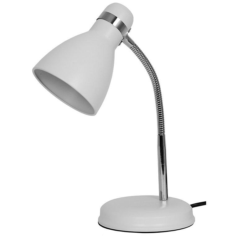 Lampe De Bureau Naraji E27 Ip20 Blanc Castorama