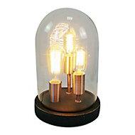 Lampe à poser Brillant Indus bois foncé et cuivre E27