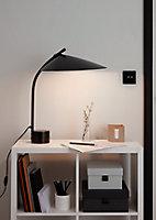 Lampe à poser noire Bindarri E27