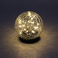 Lampe à poser solaire LED boule craquelée verre IP44