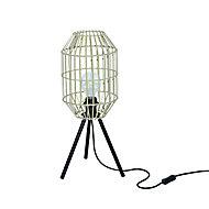 Lampe à poser Wutai E27 Ø20cm IP20 Naturel Noir