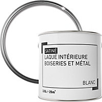 Laque boiseries et métal Blanc Satin 2,5L