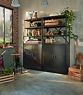 Lot 1 étagère + 1 armoire basse en métal coloris noir