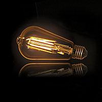 Lot 2 ampoules E27 ST64 470lm 5W 40W IP20 blanc chaud Xanlite ambré