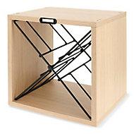 Lot 3 cubes range-bouteilles bois/metal