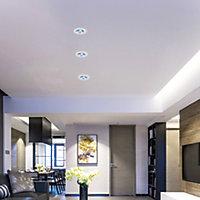 Lot 3 spots encastré LED intégreée 3 en 1 rond IP65 Ø8,5cm métal chrome + télécomande