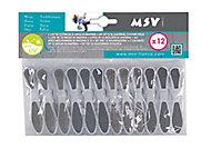 Lot de 12 pinces à linge bi-matière MSV gris