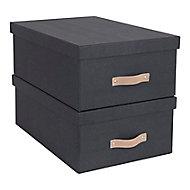 Lot de 2 boîtes de rangement rectangulaires avec couvercle coloris noir