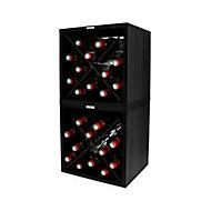 Lot de 2 casiers cubes 24 bouteilles aspect bois décor noir