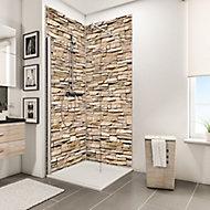 Lot de 2 panneaux muraux salle de bains 100 x 210 cm, Schulte DécoDesign Décor, parement clair