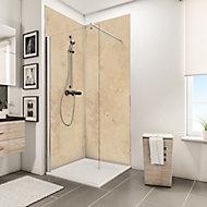 Lot de 2 panneaux muraux salle de bains 100 x 210 cm, Schulte DécoDesign Décor, travertin