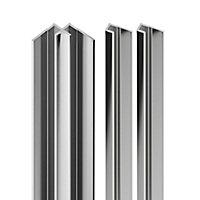 Lot de 2 profilés de finition + 1 profilé d'angle intérieur pour panneaux muraux Schulte DécoDesign, aspect chromé