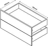 Lot de 2 tiroirs effet chêne GoodHome Atomia H. 18,5 x L. 71,4 x P. 39 cm