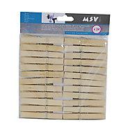 Lot de 24 pinces à linge bois MSV