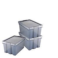 Lot de 3 boîtes en plastique résistant 51L Xago transparent