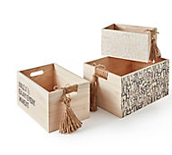 Lot de 3 boîtes gigogne bois paulownia
