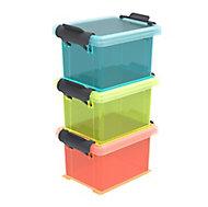 Lot de 3 boîtes plastiques superposables avec couvercle Funcenter 0,15 L
