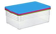 Lot de 3 boîtes transparentes Colorlid 22 L