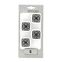 Lot poignées 4 boutons céramique blanc métal noir