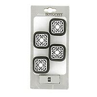 Lot poignées 4 boutons céramique noir métal blanc