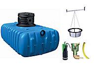 Lot récupérateur d'eau de pluie jardin confort Flat Graf 1500 L