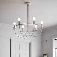 Lustre Biham 6 ampoules E27 IP20 blanc