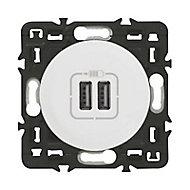 Mécanisme de prise double chargeur USB Legrand Céliane blanc