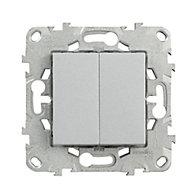 Mécanisme double poussoir + interrupteur Schneider Electric Unica Alu