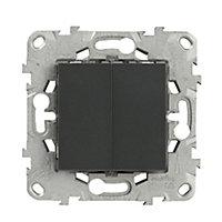 Mécanisme double poussoir + interrupteur Schneider Electric Unica Anthracite