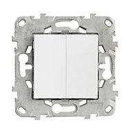 Mécanisme double poussoir + interrupteur Schneider Electric Unica Blanc