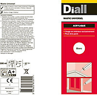 Mastic acrylique Diall blanc 300ml
