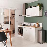 Meuble de cuisine blanc l. 180 cm + plan de travail