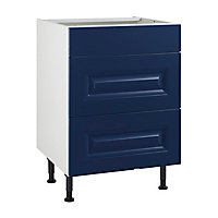 Meuble de cuisine Candide bleu nuit façade 1 tiroir 2 casseroliers + caisson bas L. 60 cm