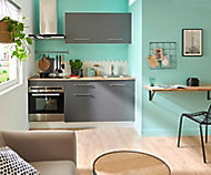 Meuble de cuisine gris anthracite L.180 cm sans électroménager + plan de travail effet chêne