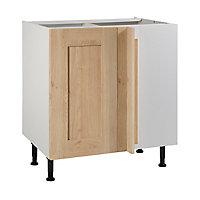 Meuble de cuisine Kadral bois d'angle façade 1 porte 1 tiroir + kit fileur + caisson bas L. 80 cm