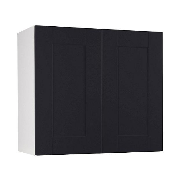 meuble de cuisine kadral noir facade 1 porte l 90 cm caisson haut