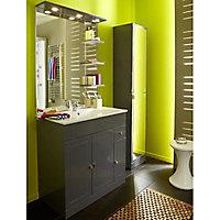 Meuble de salle bains à poser Cooke & Lewis Atrato gris anthracite 80 cm + plan vasque en céramique + miroir éclairant