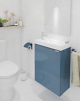 Meuble lave mains à suspendre GoodHome Imandra bleu L.44 x H.55 cm