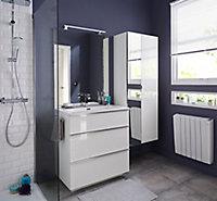 Meuble sous vasque blanc Cooke & Lewis Pamili 80 cm + plan vasque en résine