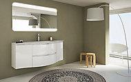 Meuble sous vasque Cooke & Lewis blanc Vague 138 cm + complément gauche et droit + plan vasque en résine