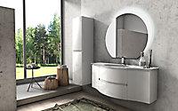 Meuble sous vasque Cooke & Lewis blanc Vague 138 cm + complément gauche et droit + plan vasque en verre