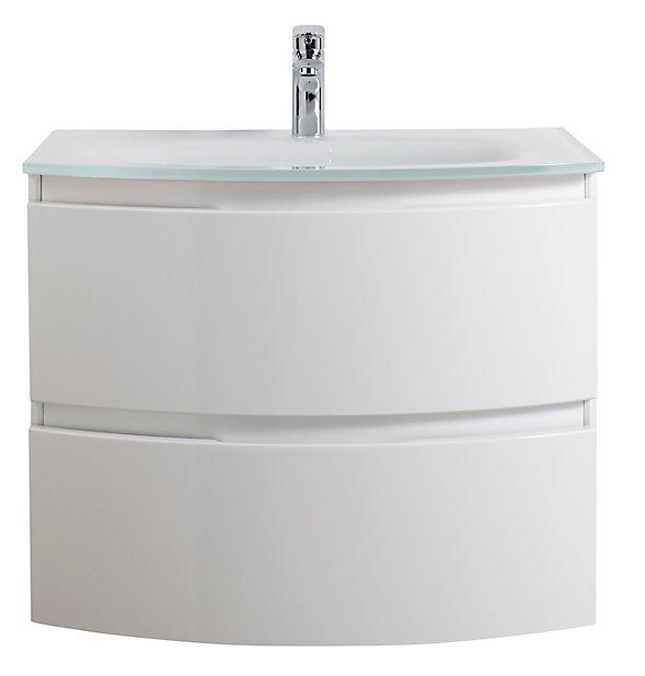 meuble sous vasque cooke lewis blanc vague 70 cm plan vasque en verre