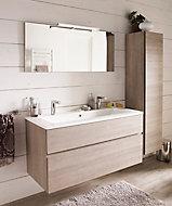 Meuble sous vasque Cooke & Lewis Calao aspect chêne clair 120 cm + plan vasque en résine
