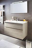 Meuble sous vasque Cooke & Lewis Calao aspect chêne clair 90 cm + plan vasque en résine