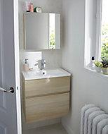 Meuble sous vasque Cooke & Lewis Calao aspect chêne naturel 60 cm + plan vasque en résine