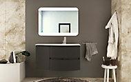 Meuble sous vasque Cooke & Lewis graphite Vague 104 cm + complément gauche + plan vasque en verre