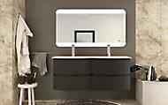 Meuble sous-vasque Cooke & Lewis graphite Vague 138 cm + plan double vasque en verre