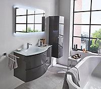 Meuble sous vasque Cooke & Lewis gris anthracite Vague 104 cm + complément droit + plan vasque en verre