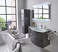 Meuble sous vasque Cooke & Lewis gris anthracite Vague 104 cm + complément gauche + plan vasque en verre