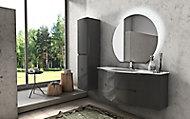 Meuble sous vasque Cooke & Lewis gris anthracite Vague 138 cm + complément gauche et droit + plan vasque en verre